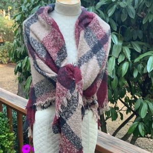 Burgundy Red And Tan Plaid Wrap Scarf NEW